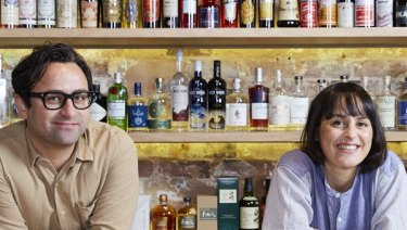 Owners siblings Paul and Jessica Ghaie at independent wine store Blackhearts & Sparrows.
