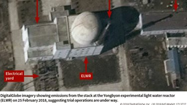 Trial operations appeared to be under way in February, 2018, at the Yongbyon experimental light water reactor in North Korea.