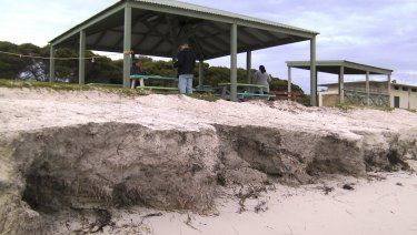 Erosion at Grace Darling Park, Lancelin, late last winter.