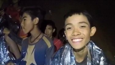 Thai Navy divers took this photo of the boys while they were trapped in the cave.