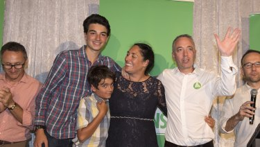 Alex Bhathal with her family and Greens MPs as she concedes defeat in the Batman byelection.