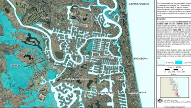 Geoscience Australia maps showing the impact of a sea level rise on the Gold Coast.