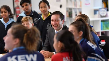 Matthew Guy during a visit to Kew Primary School this month.