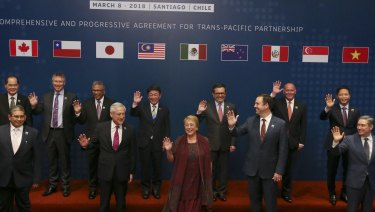 Photo prior the signing ceremony of the Comprehensive and Progressive Agreement for Trans-Pacific Partnership, CP TPP, in Santiago, Chile in March.