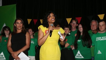 Victorian Greens leader Samantha Ratnam celebrates the party's Northcote byelection win in November.