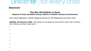 UNICEF statement on mass casualties among children in the Syrian conflict in Eastern Ghouta.
