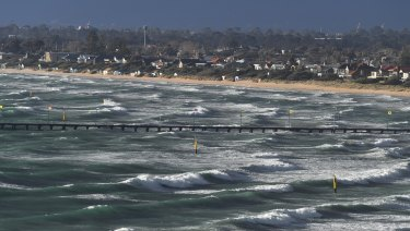 Surf was up at Frankston on Tuesday afternoon.