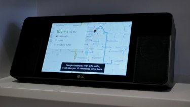 An LG smart display that acts as a Google Home but with a screen to display information.