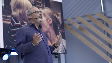 Scott Huffman on stage at Google I/O last week.