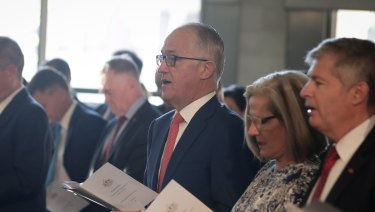 Malcolm Turnbull, with wife Lucy, at a church service in Canberra as Parliament returned for 2018.