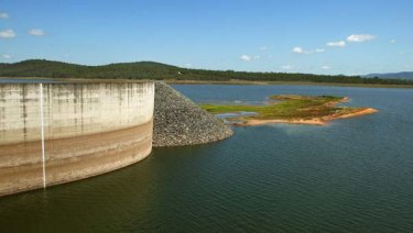 Wivenhoe Dam, pictured here during last decade's drought,  was at 67 per cent on Monday.