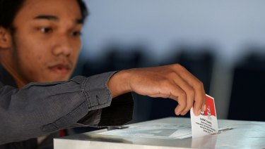 An Indonesian citizen votes. Influence via Facebook may be an issue in upcoming elections.