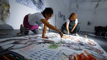 Students working in the drawing studio as part of Drawing Week at National Art School.