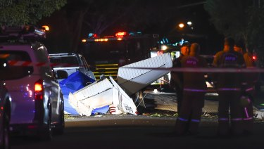 Emergency workers at the scene of the crash in Scarlet Street, Mordialloc.
