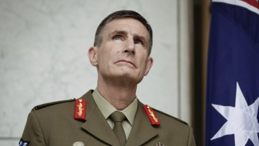 Lieutenant General Angus Campbell is announced as Australia's next Chief of the Defence Force during a press conference at Parliament on Monday.