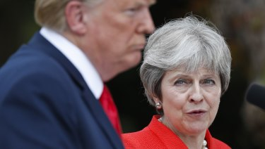 Trump with British Prime Minister Theresa May.