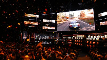 Leaves fall from the roof as Microsoft announces a new Forza Horizon game at E3.