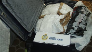 The suitcase filled with cocaine, discovered by Border Force on board MS Sea Princess.