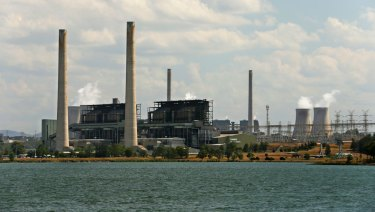 AGL Energy's Liddell power plant, with Lake Liddell in the foreground, and the company's Bayswater power plant behind.