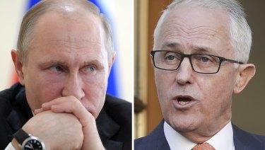 Worsening tensions: Russian President Vladimir Putin and Prime Minister Malcolm Turnbull