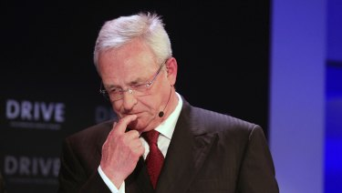 Martin Winterkorn, former CEO  of Volkswagen, pauses during the re-opening of a VW showroom in Berlin in 2015.