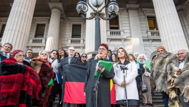 Greens MP Lidia Thorpe with Aboriginal clan elders at Parliament House.
