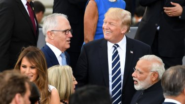 Malcolm Turnbull with Donald Trump at the G20 summit in 2017.
