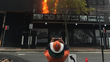 The fire at the Gold Fields House building in Circular Quay on Tuesday.