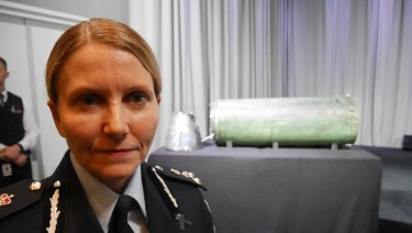 Commander Jennifer Hurst of the Australian Federal Police, with parts of the Russian-made missile that shot down MH17.