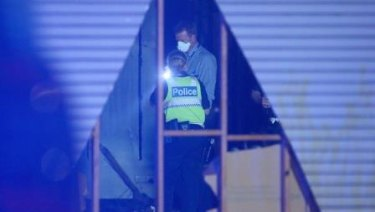 Emergency crews at the factory in Springvale on Sunday night.
