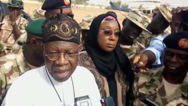 Lai Muhammed, Nigerian Minister of Information, speaks to the media in Dapchi, Yobe State, Nigeria.