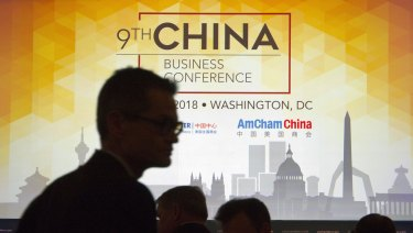 <p>People take their seats before U.S. Trade Representative Robert  A delegation led by Treasury Secretary Steven Mnuchin,  Lighthizer and trade adviser Peter Navarro is visiting Beijing.