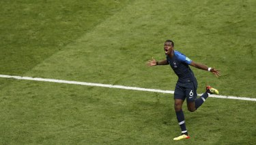France's Paul Pogba celebrates after scoring his side's third goal .