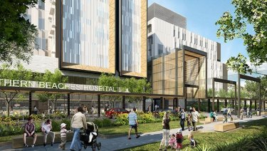An artist's impression of the Northern Beaches Hospital at Frenchs Forest due to open in October.