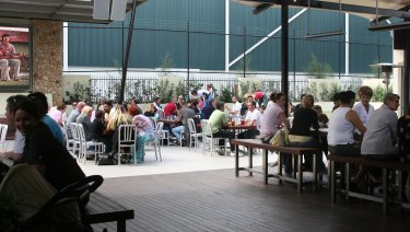 The beer garden at the Peachtree Hotel in Penrith.