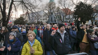 Thousands of people turned out after the resignation of Prime Minister Robert Fico and his government.