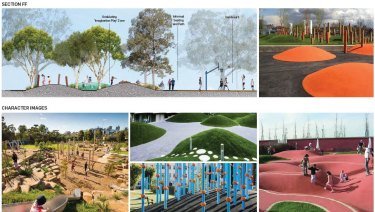 Ideas for the play areas, from the concept plan.