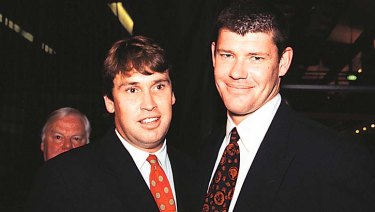 David Gyngell, left, with former best mate James Packer in 1999.