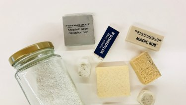 A range of erasers used by the SLQ conservators.