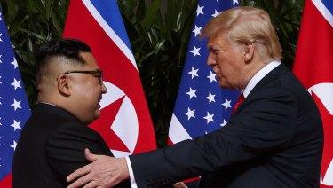 North Korean leader Kim Jong-un and US President Donald Trump in Singapore, on June 12.