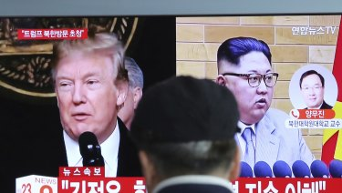 A TV screen at Seoul Railway Station in South Korea announces the pending talks between Kim Jong-un and Donald Trump.