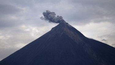 The Volcan de Fuego blows a cloud of ash on Thursday.