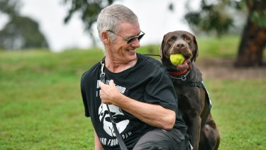 Ron Fenton with his trauma dog, Yogi.