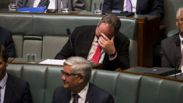 Barnaby Joyce as a backbencher in Parliament on Monday.