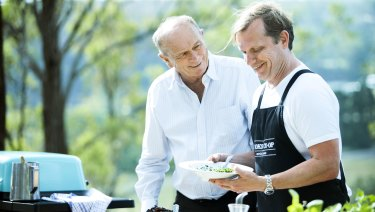 Gerry Harvey and Martin Boetz share a love of cucumbers at the Cook's Coop.