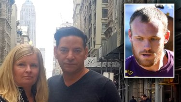 New York couple Ruth Fowler and Joseph Cartright said they were infuriated and stunned to see Matthew Lodge given a contract with the NRL despite not paying damages for the violent home invasion he subjected them to.