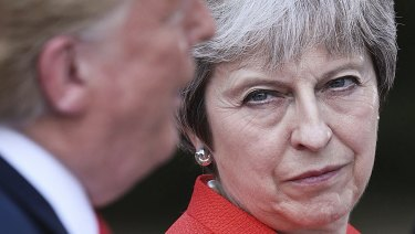 British Prime Minister Theresa May and USPresident Donald Trump hold a joint press conference at Chequers, in Buckinghamshire on Friday.
