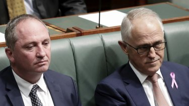 Barnaby Joyce and Malcolm Turnbull in Parliament during the height of the crisis over the former deputy prime minister's affair.