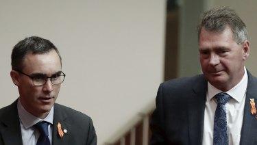 Independent senators Tim Storer (left) and Steve Martin (right) in the Senate on Wednesday.
