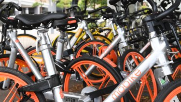 MoBike bikes in Sydney.